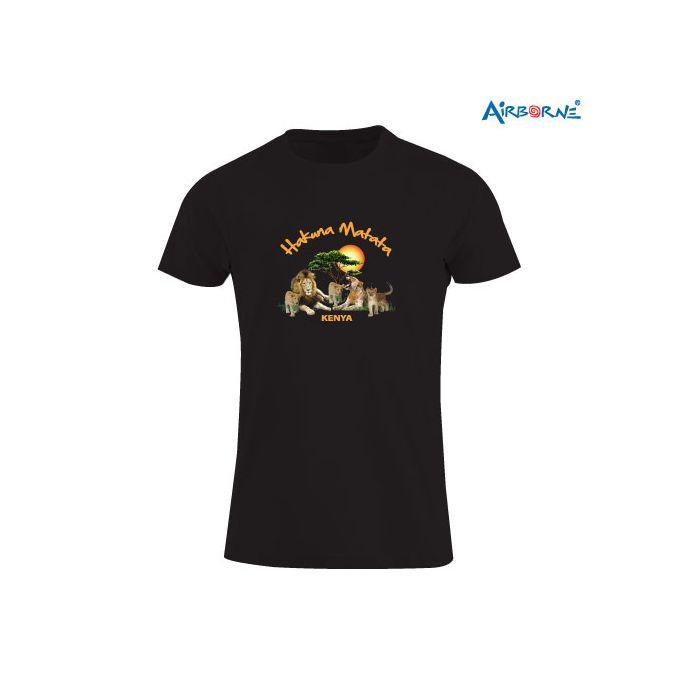 AIRBORNE Tourist Tshirt With Embroidered Hakuna Matata Lions Family Kenya