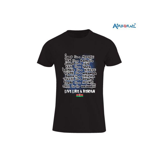 AIRBORNE Black Tourist Tshirt With Live Like A Kenyan Print