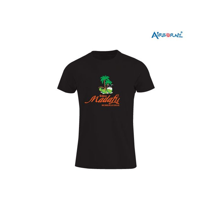 AIRBORNE Tourist Tshirt With Embroidered Mombasa Kenya Palms + Sun