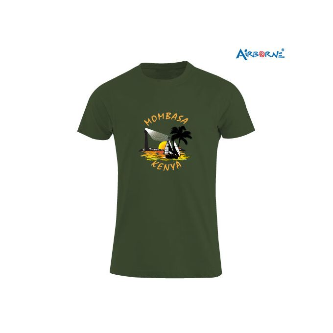 AIRBORNE Tourist Tshirt With Embroidered Mombasa Kenya + Light House
