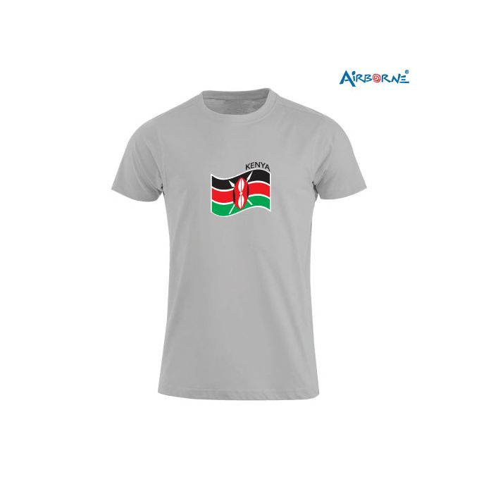 AIRBORNE Tourist Tshirt With Embroidered Kenya Flag Wave & Flag On Sleeve