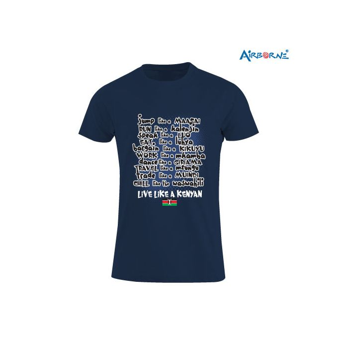 AIRBORNE Navy Tourist T-shirt With Live Like A Kenyan Print