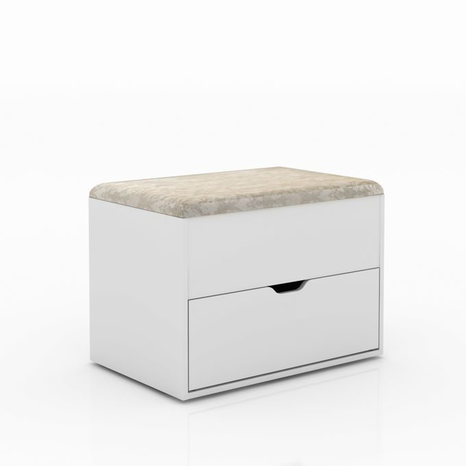 Tecno Mobili PUFF WITH STORAGE CABINET AND SHOE RACK - WHITE/FABRIC