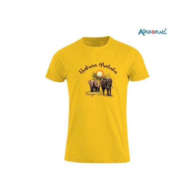 AIRBORNE Tourist Tshirt With Embroidered Hakuna Matata Elephant Kenya