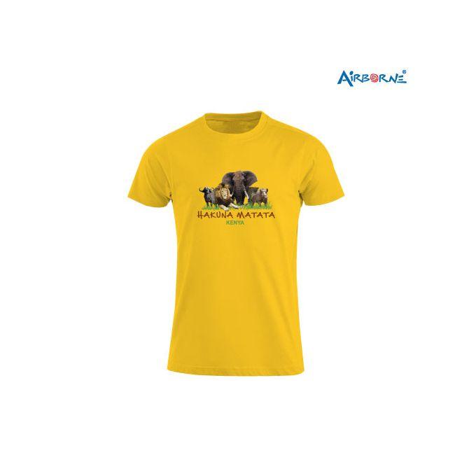 AIRBORNE Tourist Tshirt With Embroidered Big Five H/matata Kenya + Elephants Head On Back
