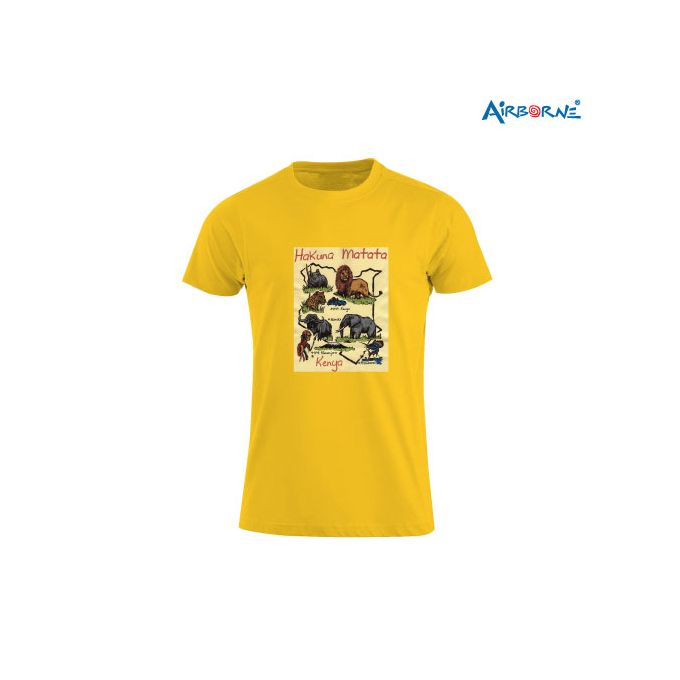 AIRBORNE Tourist Tshirt With Embroidered Hakuna Matata Animal Map