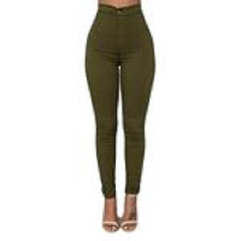 Fashion Olive Green High Waist Jeans