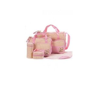 5 Piece - Diaper Bag, Multi Pockets Waterproof Nappy Bag For Travel