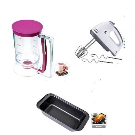 Batter Dispenser + Non Stick Baking Tin 400gm+ Electric Hand Mixer