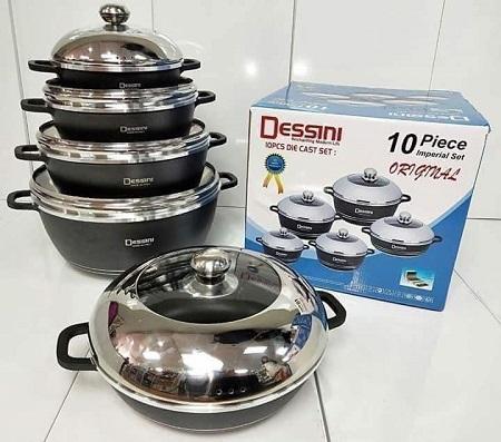 Dessini 10 Pcs Non-Stick Cooking & Serving Pots