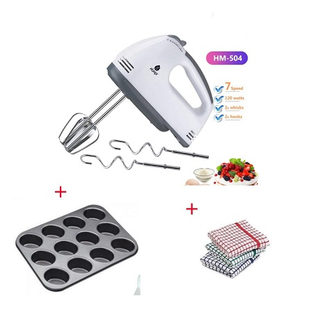 Hand Mixer, 12 Hole Muffin Tray, Kitchen Towels