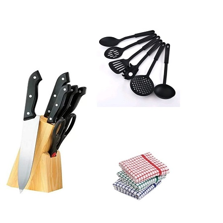 Kitchen Knife Set + Non Stick Kitchen Spoons + Kitchen Towels