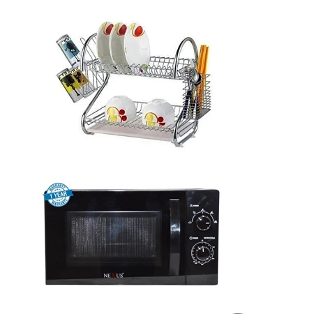 Microwave and a Two Tier Stainless Steel Dish Rack