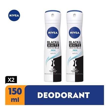 Nivea Black & White Invisible Fresh Spray, 48h - 150ml (Pack Of 2)
