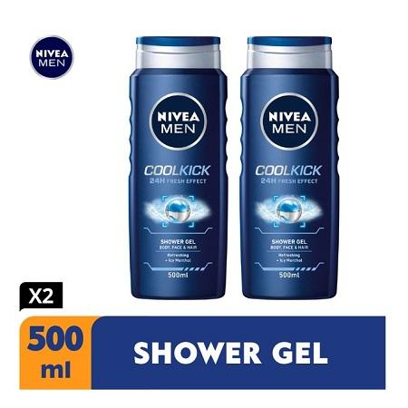 Nivea Men Cool Kick Shower Gel For Men - 500ml (Pack Of 2)