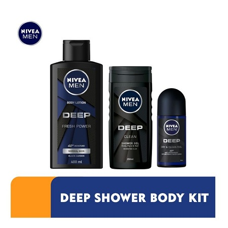 Nivea Men Deep Lotion + Shower Gel + Deo Rollon Kit