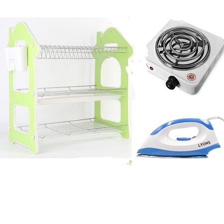 Nunix 3 Layers Dish Rack, One Electric Hot Plate & Lyons Dry Iron Box