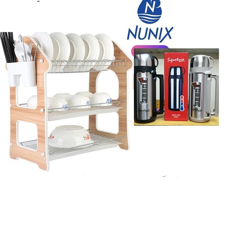 Nunix 3 Layers Dish Rack & a 2 Litres Signature Flask