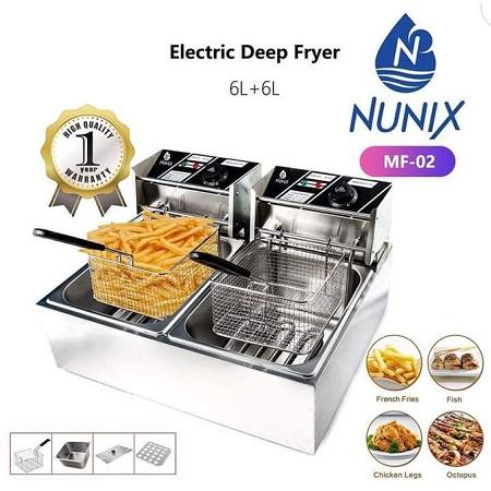 Nunix 6L+ 6L Commercial Double Stainless Steel Deep Fryer