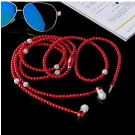 Pearl Necklace Headset Wire Control Sports Stereo In-Ear Earphone