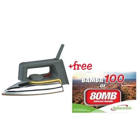 Rebune Classic Dry Iron, 1000-1200W - Grey & Silver and Free KSH 100 Safaricom