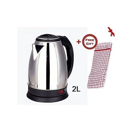 Scarlett Cordless Electric Kettle- Silver and a Free Gift Hand Towel