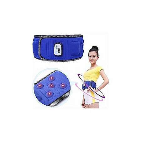 Slimming Belt X5 Times Electric Vibration Massage Machine Lose Weight Burning Fat Heating Fitness S Shape Body Figure Waist Trainer - Blue
