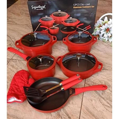 Signature 12 Pcs Aluminum Die Casting Non-stick Cookware Set - Black