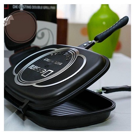 Dessini 36 Cm Double Sided Grill Non-stick Pressure Pan - Black
