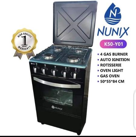 Nunix Standing Gas Cooker 3 Gas 1 Hot Plate 50 X 55 cm
