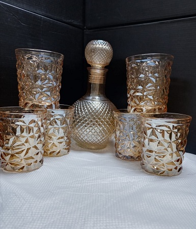 Whiskey Water Juice Decanter And With 6 Glasses