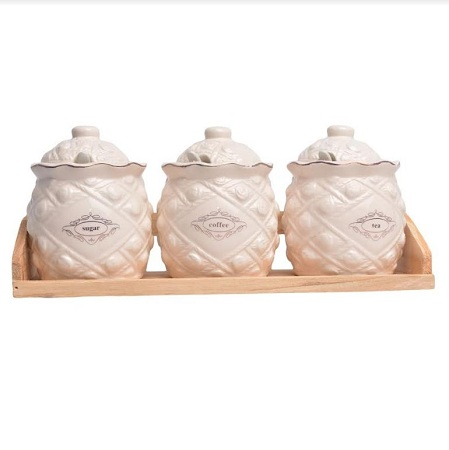 Ceramic Sugar Dish Set With Bamboo Stand