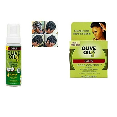 Ors Olive Oil Edge Control Gel And Wrap Set/mousse