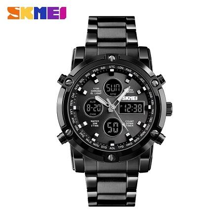 SKMEI 1389 Mens Quartz Analog Watch Outdoor Sport Wristwatch Waterproof Stainless Male Clock Watches