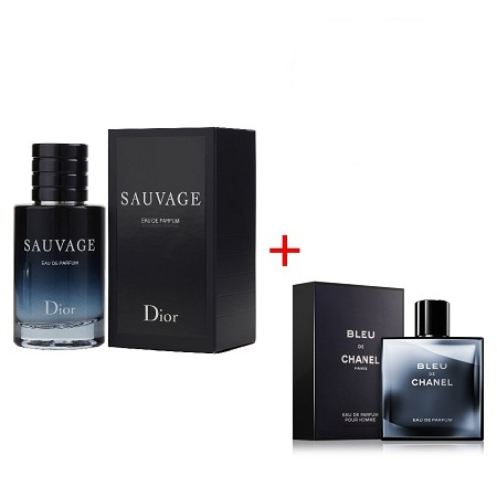 Bleu De Chanel Cologne by Chanel 100ml + Sauvage Cologne by Christian Dior 100ml