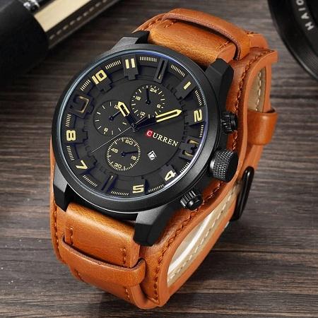 Curren Waterproof Leather Sport Military Watch