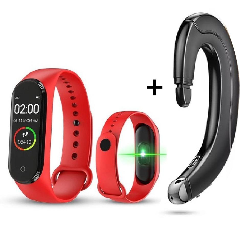 Smart Bracelet M4 Fitness Tracker - RED Plus Bone Conduction wireless earbud
