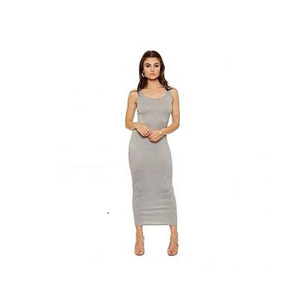 Light Grey Scoop Neck Maxi Dress