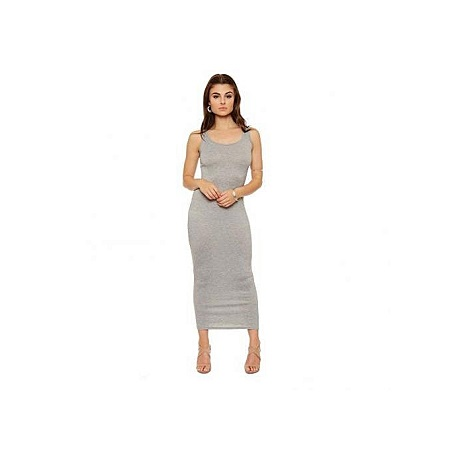 Grey Scoop Neck Maxi Dress