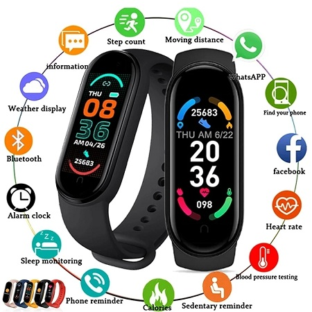 M6 Smart Bracelet Bluetooth 4.0 Waterproof Silicone Heart Rate Blood Pressure Fitness Tracker For Sports-Black