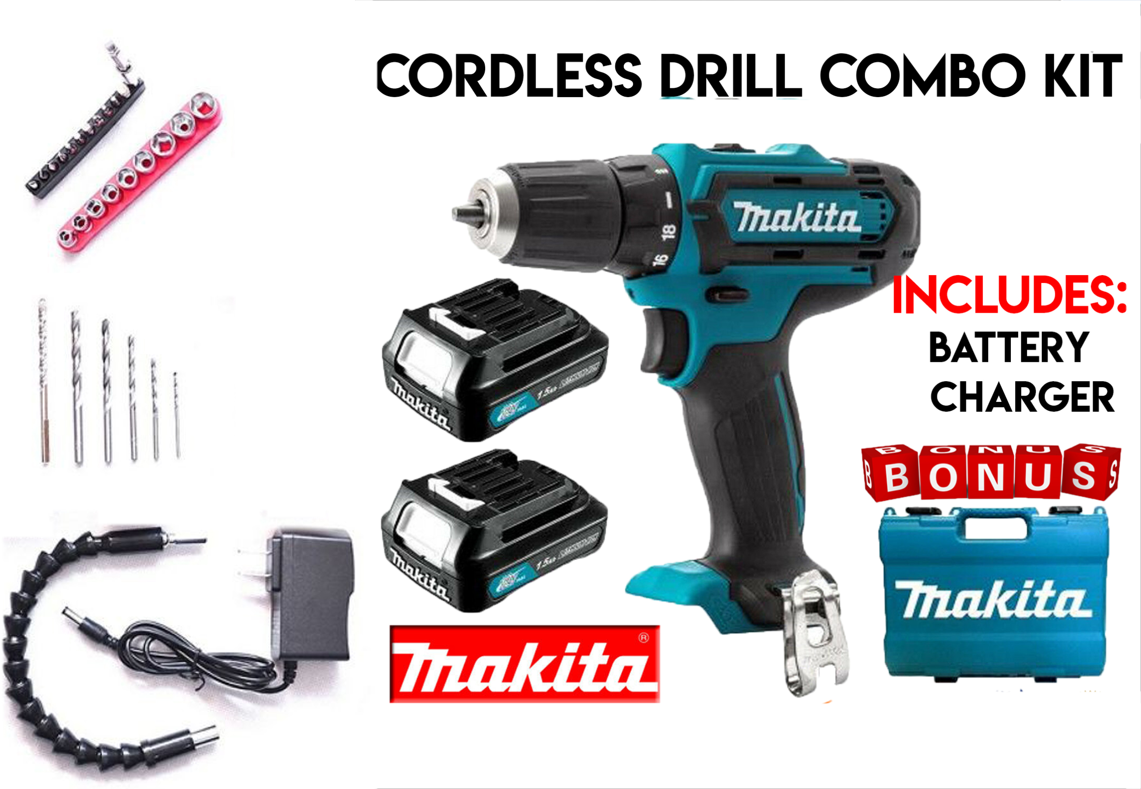 Makita Accessories 18V Cordless 2 Battery Electric Drill With LED Tool Set