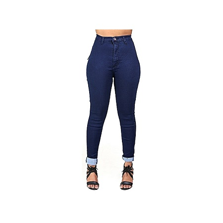 Women Pencil Stretch Casual High Waist Denim Skinny Jeans Trousers - Dark Blue