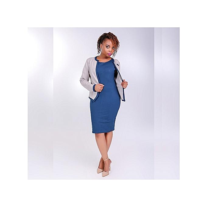 Official Dress Suit - Teal Blue Dress+Beige Coat