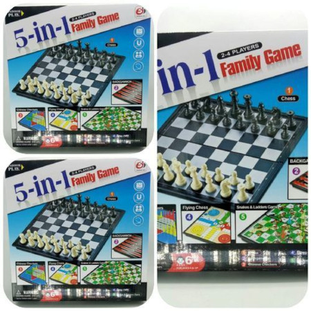 5 in 1 FAMILY GAME-CHESS, SNAKE& LADDER, CHINESE CHECKERS ,FLYING CHESS & BACKGAMMON