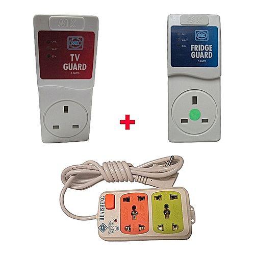 MK Electronics TV Guard + Fridge Guard + 2-Way Extension Cable