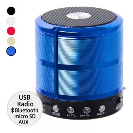 Wster WS887 Mini Bluetooth Speakers With MP3 and FM Radio - Blue
