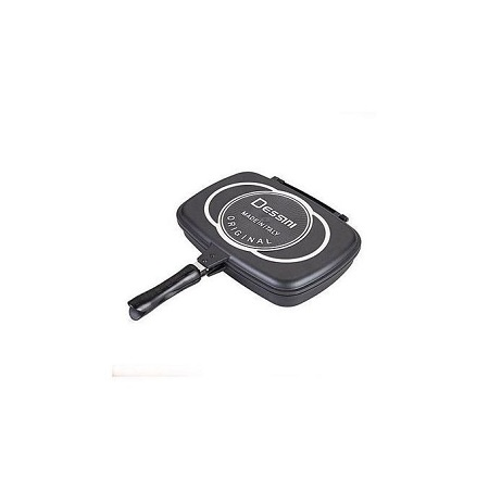 Dessini Double Pan /Meat Grill Non Stick 36cm - Black