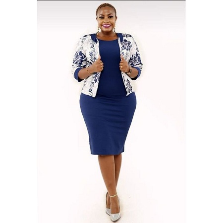 Fashion Official Blue And White Bodycon Dress Suit