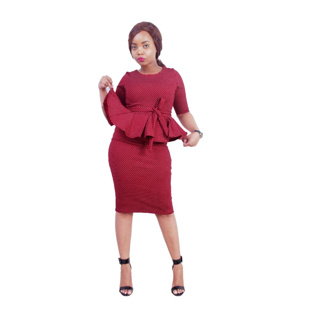 Maroon womens peplum dress