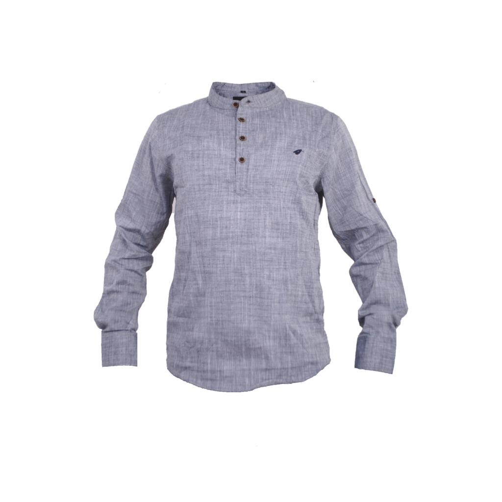 Long sleeved grey mens casual shirt